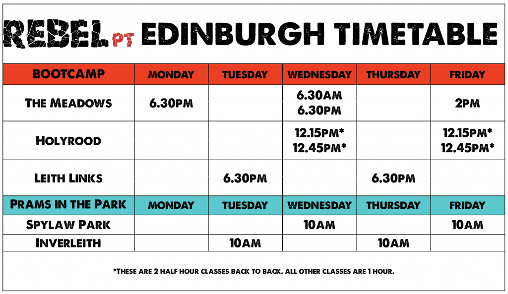 edinburgh timetable