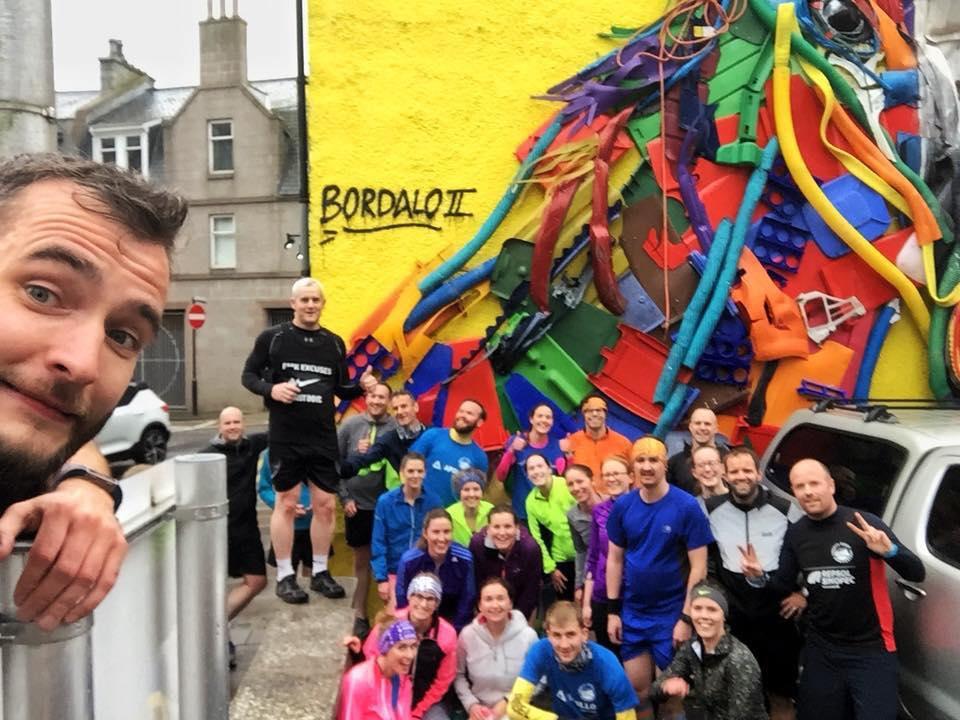 Wrrc run around the streets of Aberdeen taking on the Nuart scenes