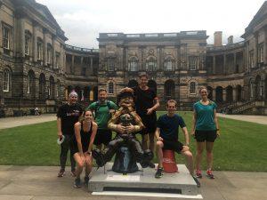 Running through the quad of Edinburgh