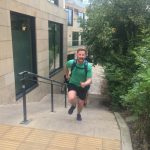 Running up the stairs towards Calton hill, edinburgh
