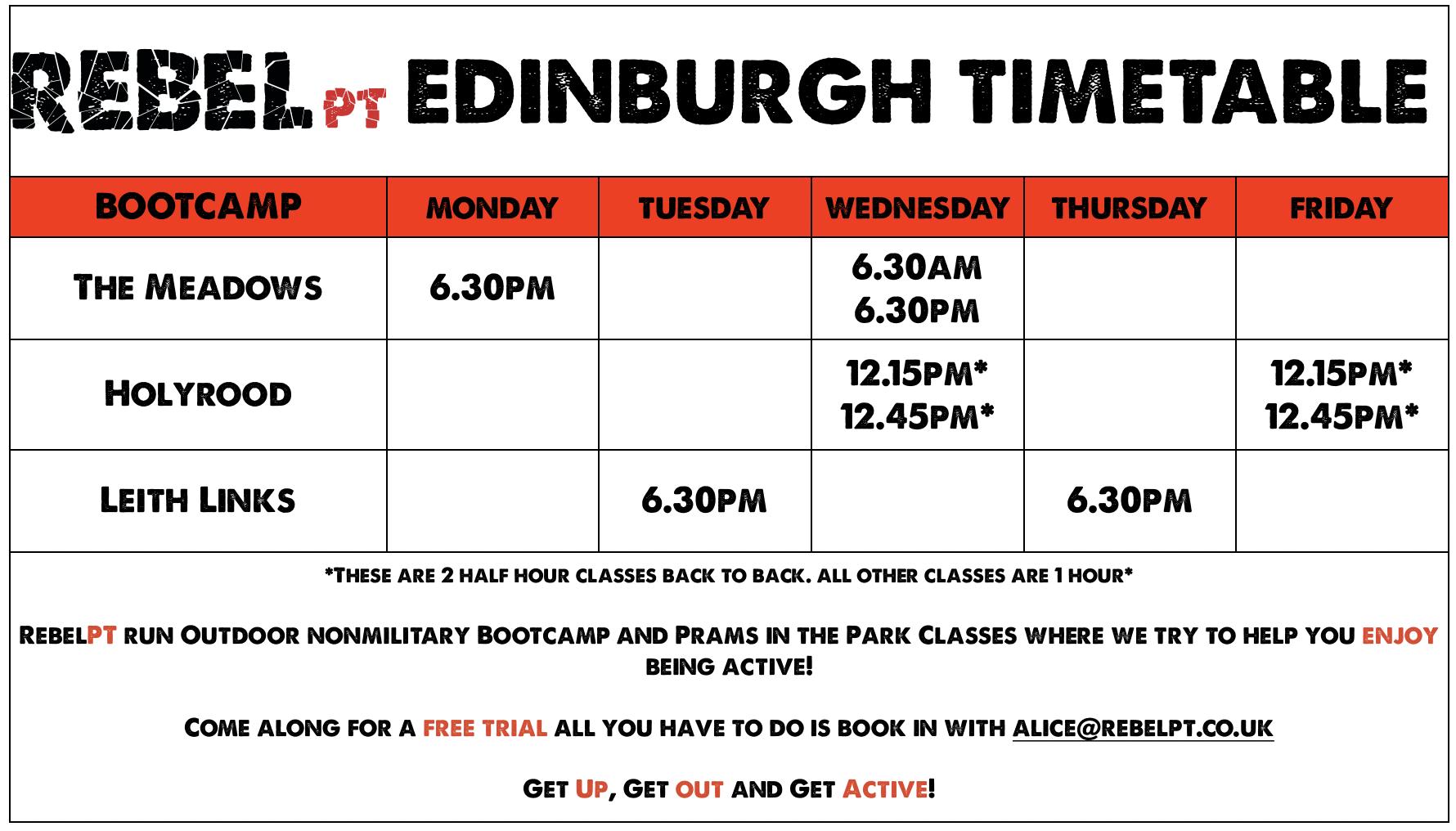 Edinburgh Timetable