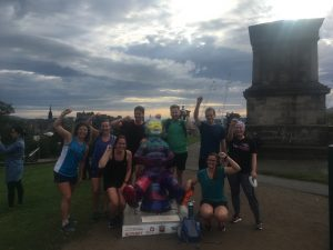 Top of Calton Hill for a team picture with Oor Wullie