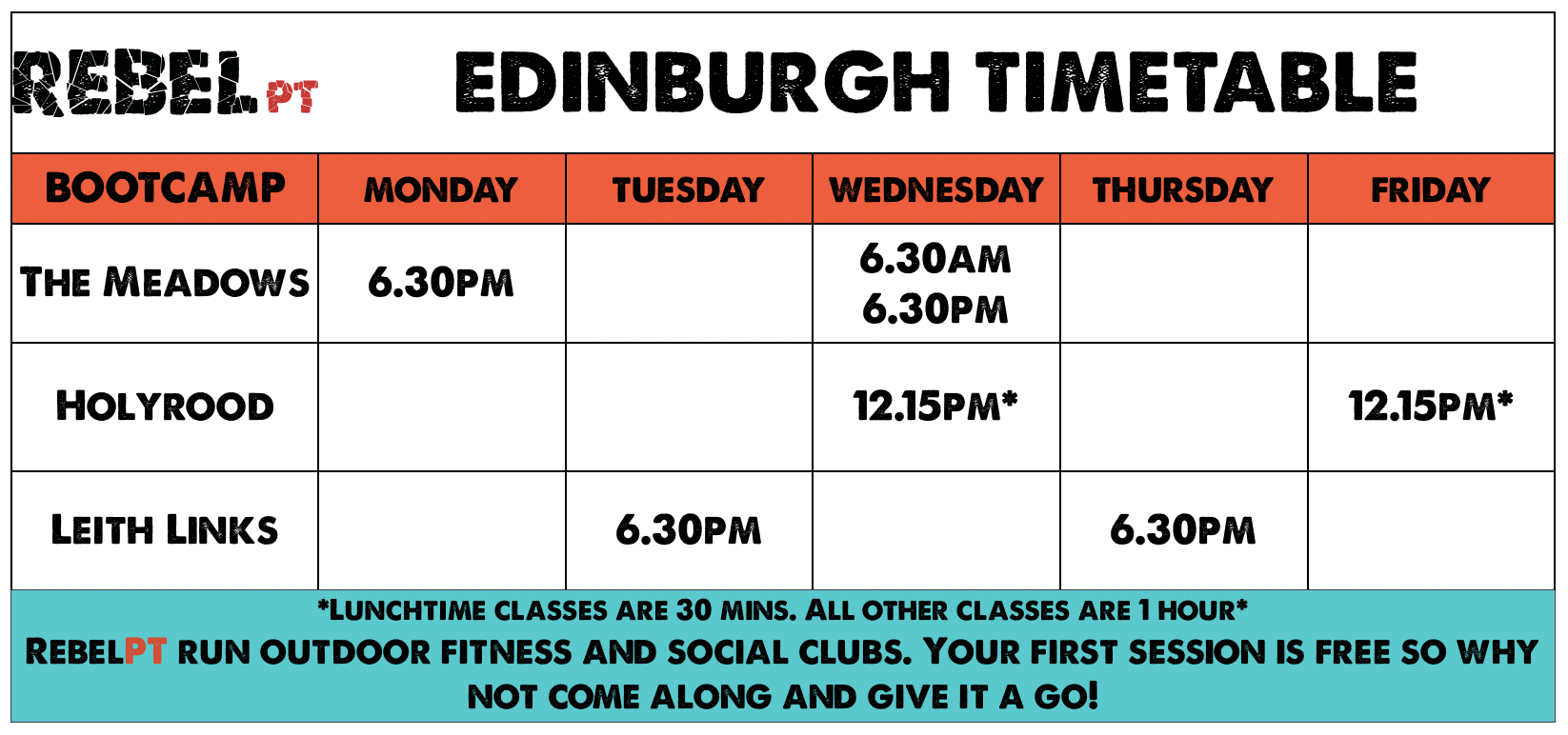 Edinburgh Bootcamp Timetable